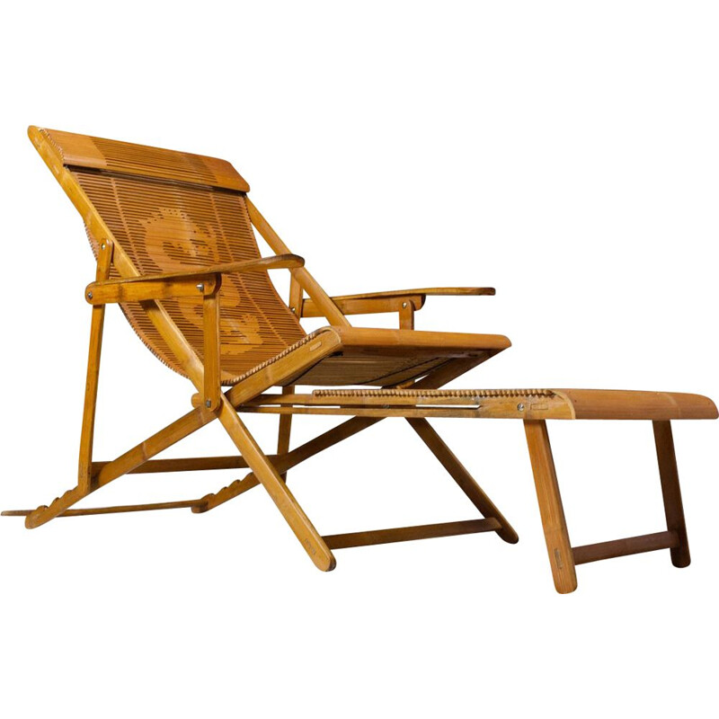 Vintage Bamboo Lounger with armrests and hocker Japanese 1940s