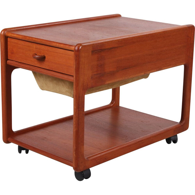 Vintage teak sewing table with drawer Danish 1960s