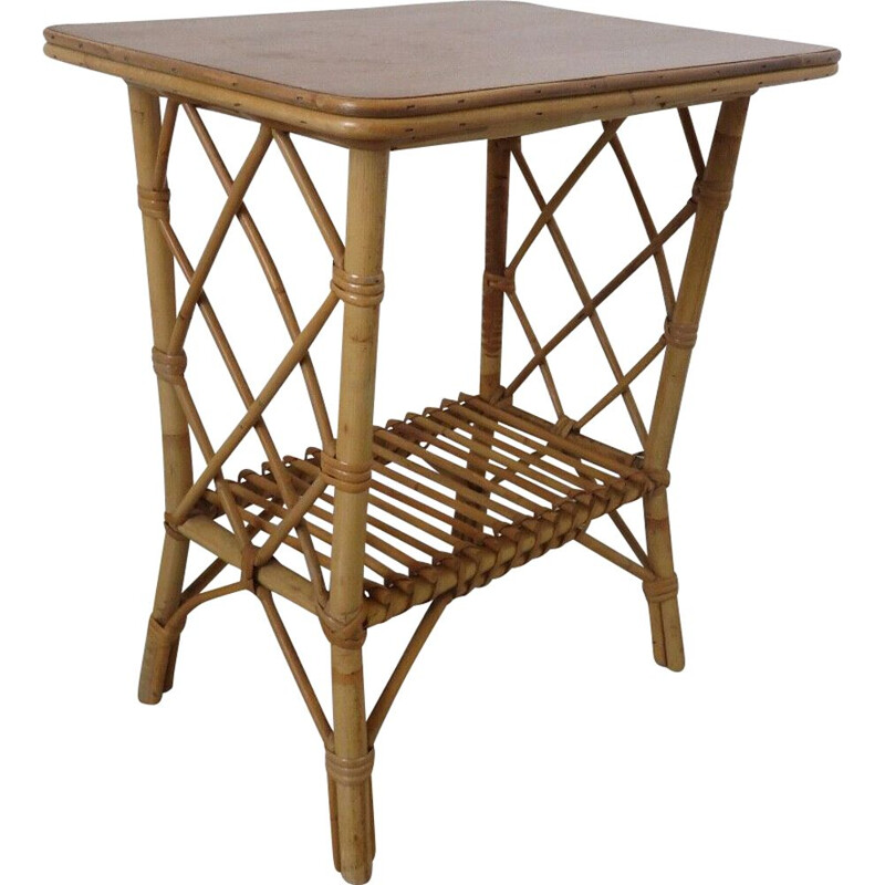 Vintage bamboo rattan side table 1960s