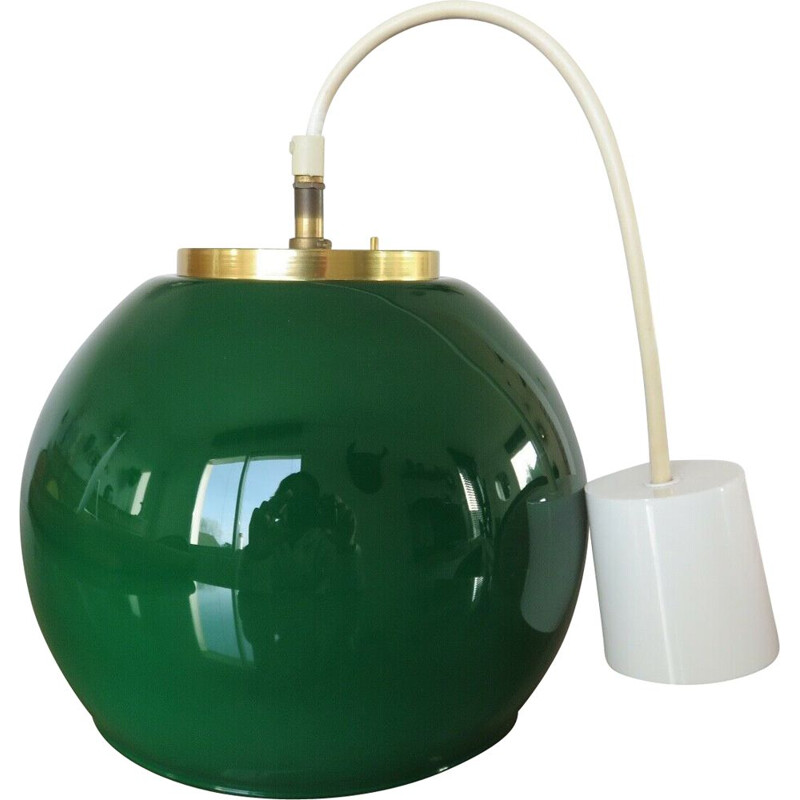 Vintage hanging lamp parscot opaline emerald green and brass 1970s