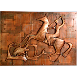 "Relief wall decoration of ""Saint George and the Dragon"" in copper - 1960s"