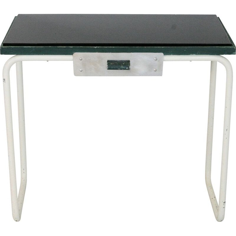 Vintage tubular steel console and black glass top 1950s