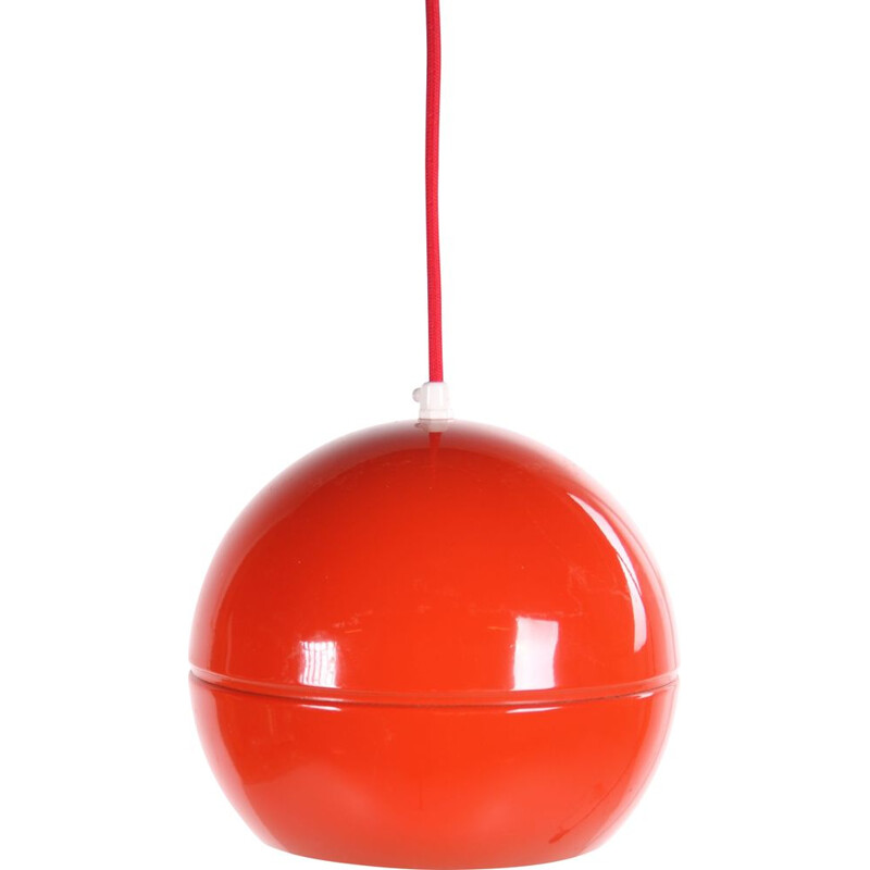 Vintage red spherical metal hanging lamp 1960s