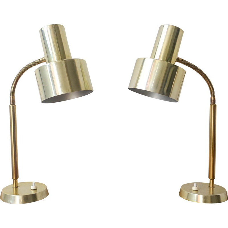 Pair of vintage brass table lamps by Boréns 1960