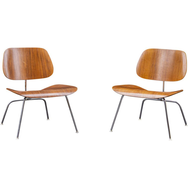 Pair of vintage LCM walnut chairs by Charles & Ray Eames for Herman Miller 1970s