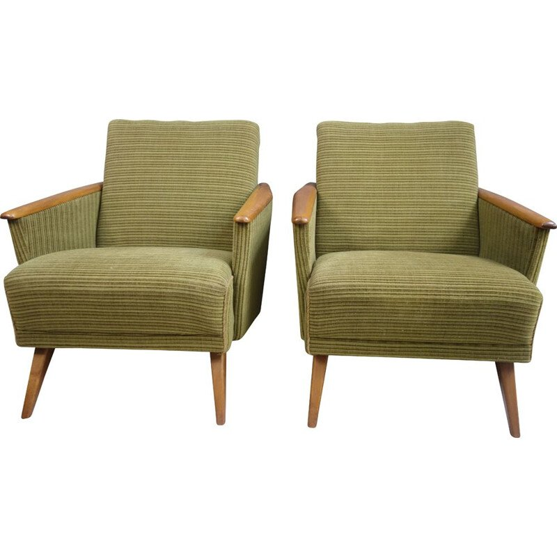 Pair of vintage club armchairs in green fabric 1960s