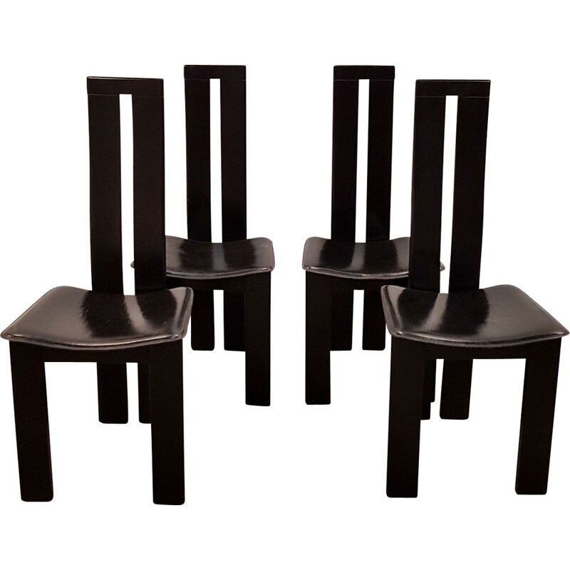 Set of 4 vintage black chairs Italian