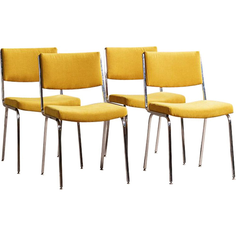 Set of 4 vintage chairs on chrome legs, yellow ochre fabric seats and backrests 1960