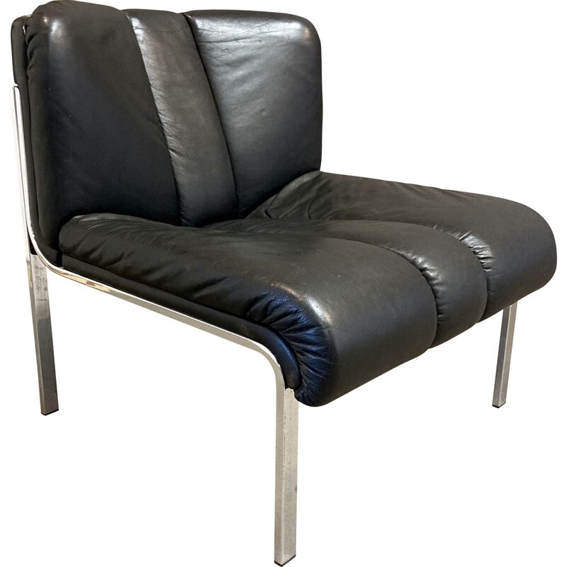 Vintage leather armchair Eurochair for Girsberger 1960