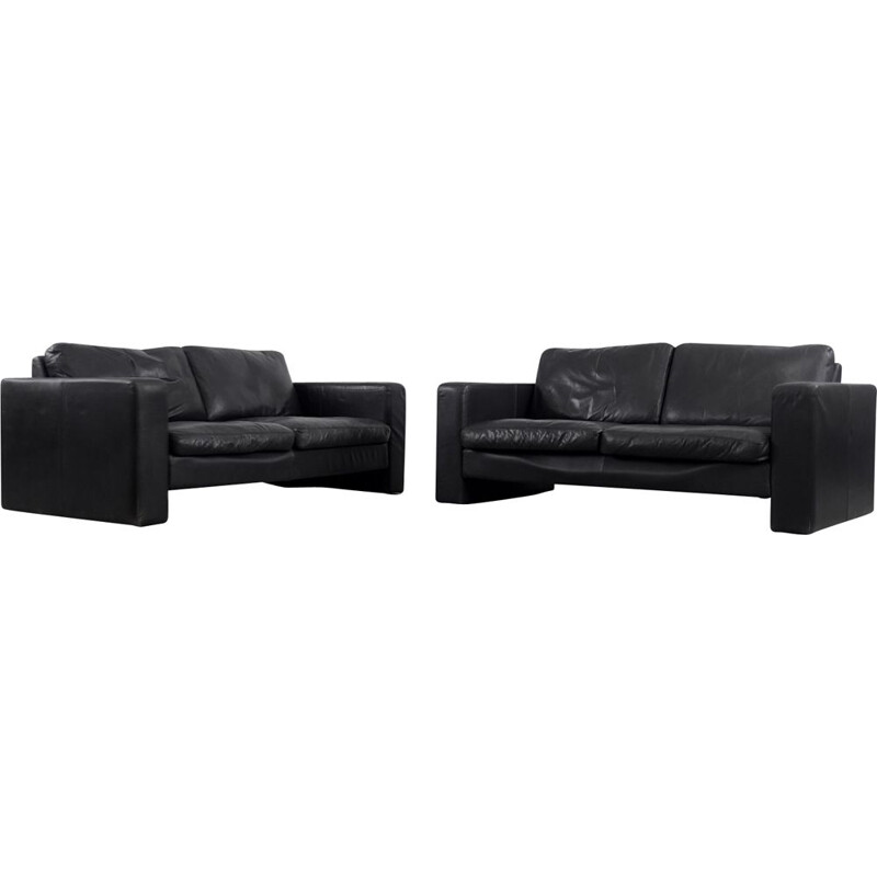 Pair of vintage Black Leather 2-Seater Conseta Sofa by F. W. Möller from Cor German 1960s