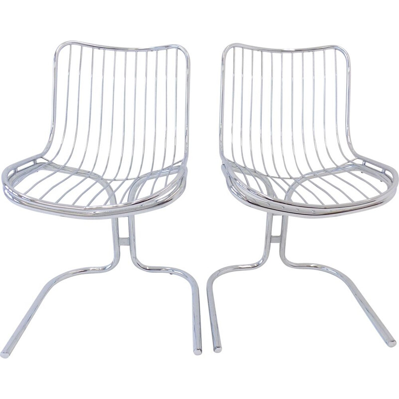 Pair of vintage Rima Radiofreccia chrome chairs by Gastone Rinaldi