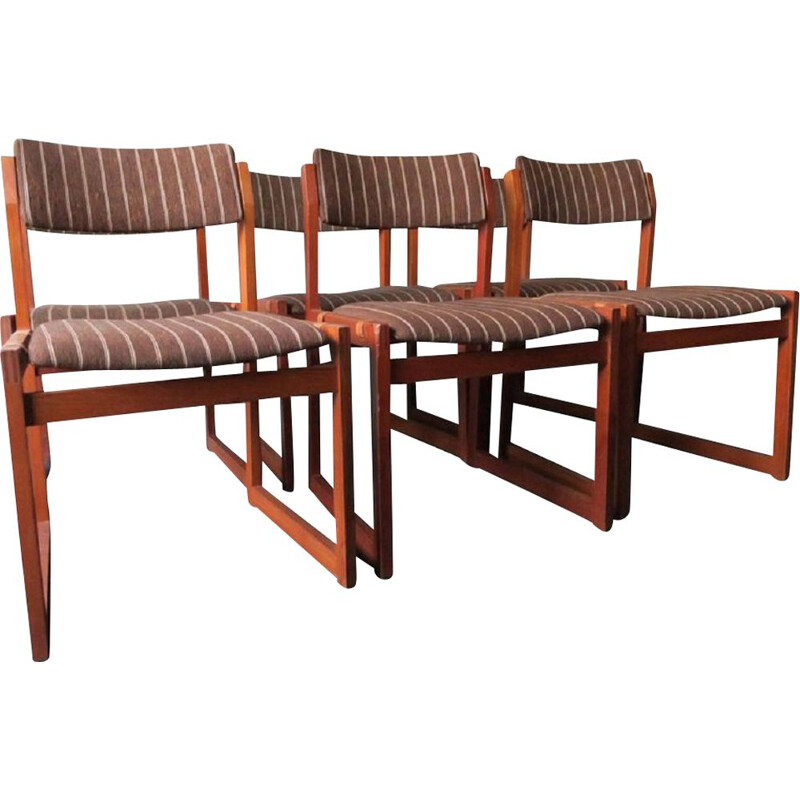 Set of 6 vintage teak chairs with Seats on Leather Straps  by K S Mobler 1960s