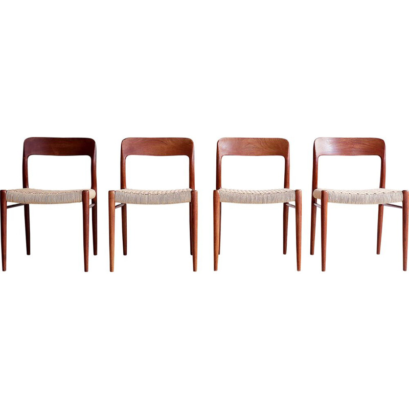 Set of 4 vintage chairs by Nils Moller Scandinavian 1960s