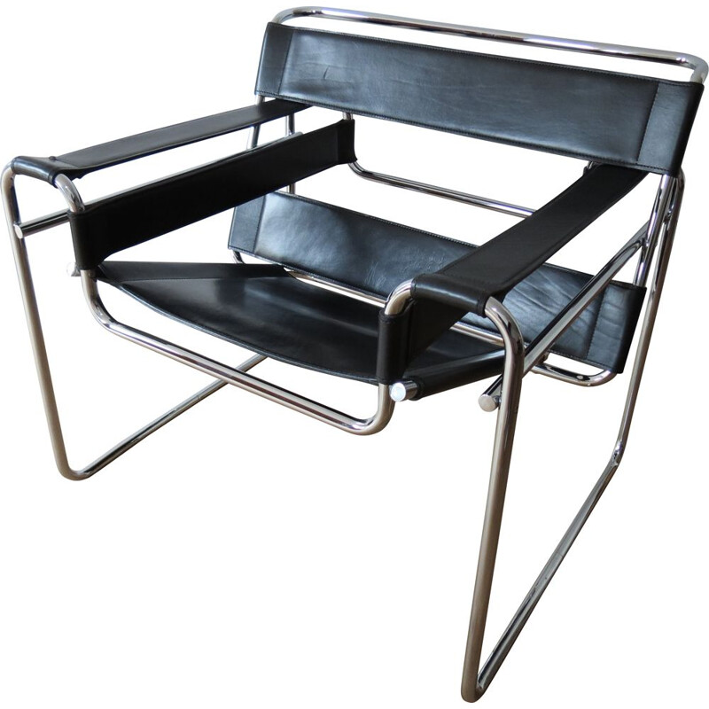 Vintage Wassily Chair Black Leather by Marcel Breuer For Fasem Italy 1980s