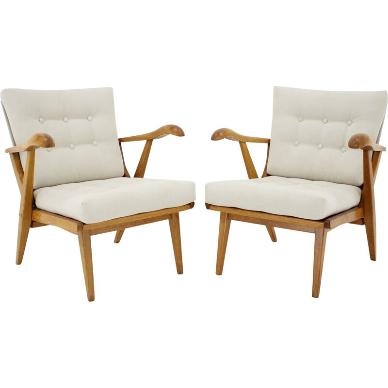 Pair of vintage Oak Armchairs Czechoslovakia 1960s