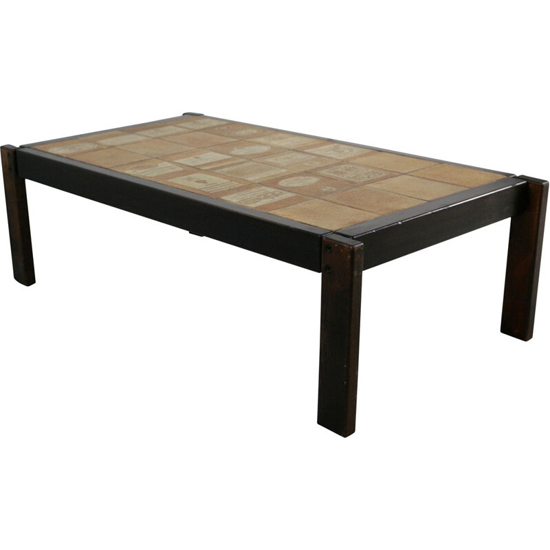 Vintage coffee table by Roger Capron ceramic and wood France 1960s
