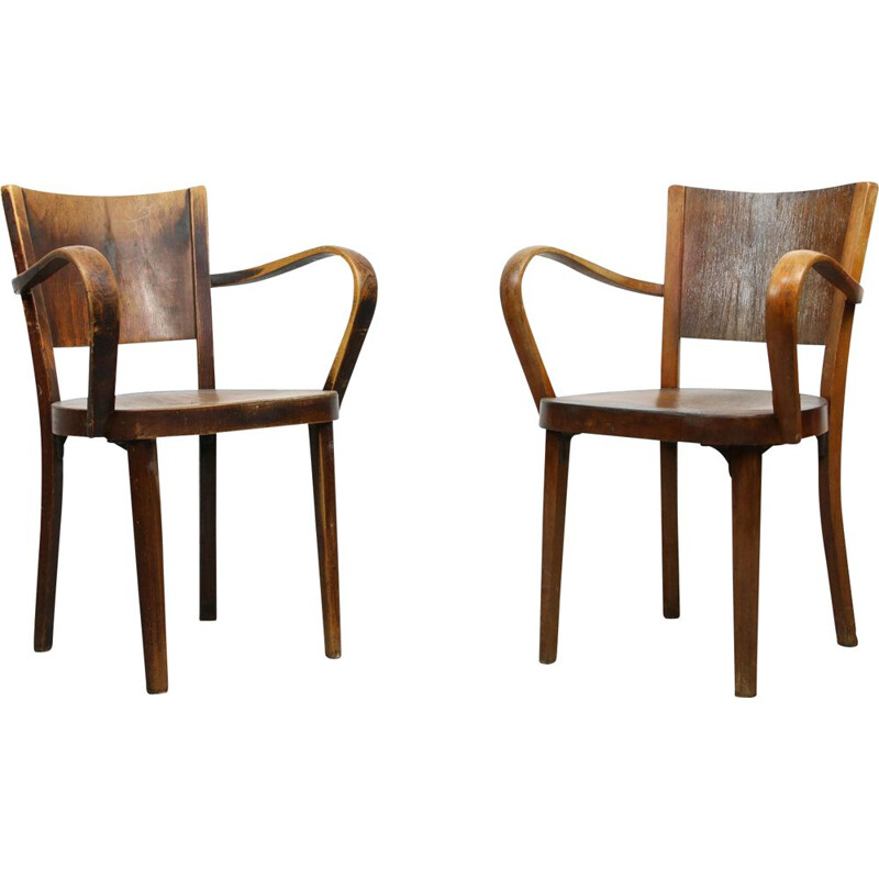 Pair of vintage Bentwood Armchairs by Michael Thonet 1930s