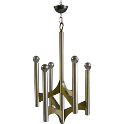 Italian chandelier in chromed metal, Gaetano SCIOLARI - 1970s