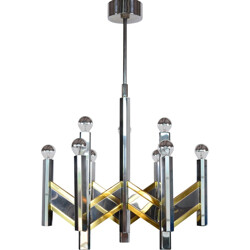 Italian ceiling lamp in brass and chromed metal, Gaetano SCIOLARI - 1960s