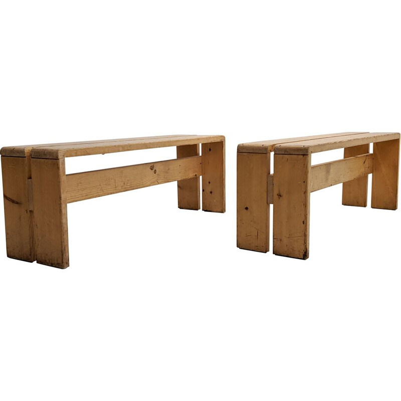 Pair of vintage benches by Charlotte Perriand for Les Arcs