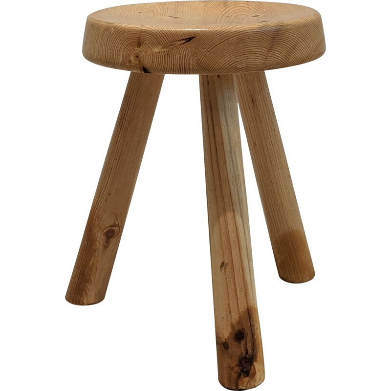 Low vintage tripod stool by Charlotte Perriand for Les Arcs