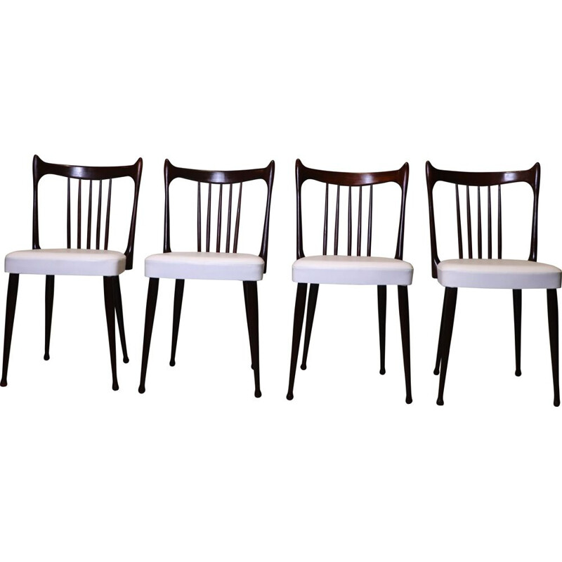 Set of 4 vintage chairs by Stevens 1950