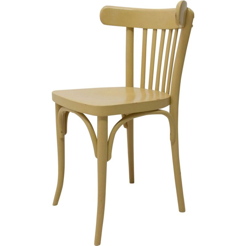 Vintage curved beech chair by Thonet 1950