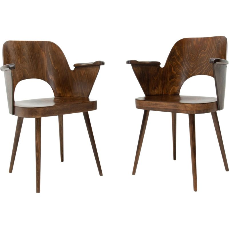Pair of vintage curved plywood armchairs by Oswald Haerdtl for Ton 1960
