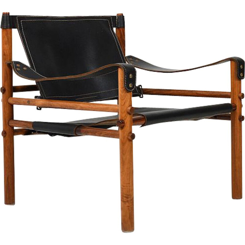 Vintage black leather Sirocco safari chair by Arne Norell 1964