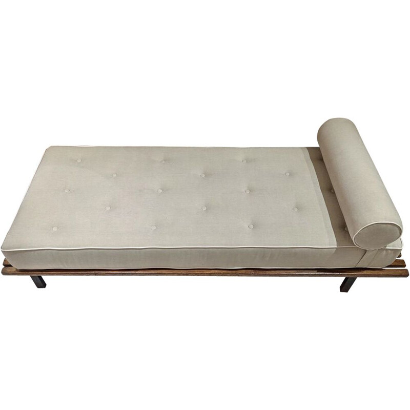 Vintage Cansado bench with grey fabric mattress and cushion by Charlotte Perriand 1954
