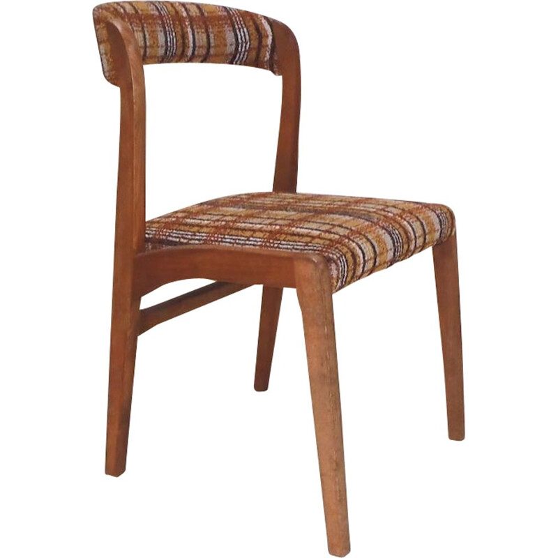 Suite of 4 vintage chairs in solid beech and tartan fabric by Baumann 1960