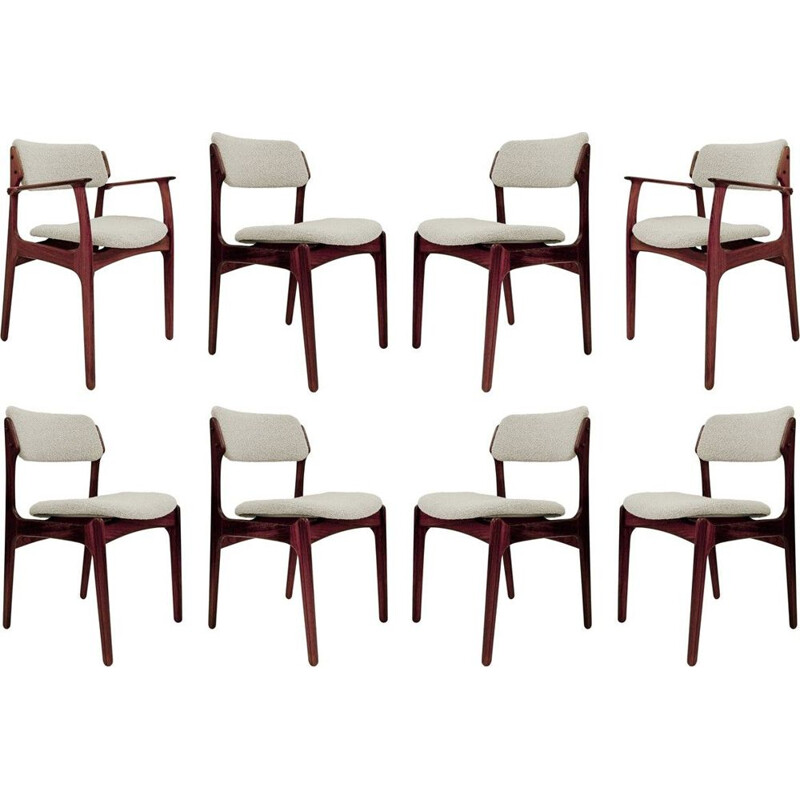 Set Of 8 vintage Chairs & 2 Armchairs By Erik Buch, Danish 1960s