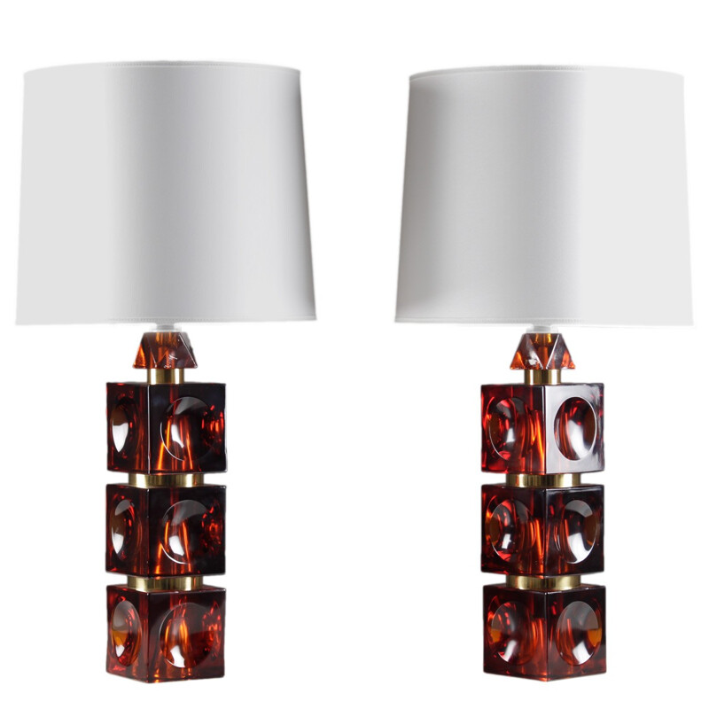 Pair of Scandinavian table lamps in glass and brass, Carl FAGERLUND - 1960s