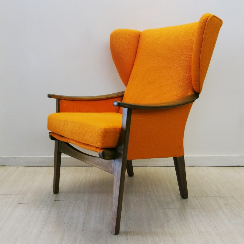 Parker Knoll Wingback Chair In Teak And Upholstered Orange Fabric 1960s Design Market