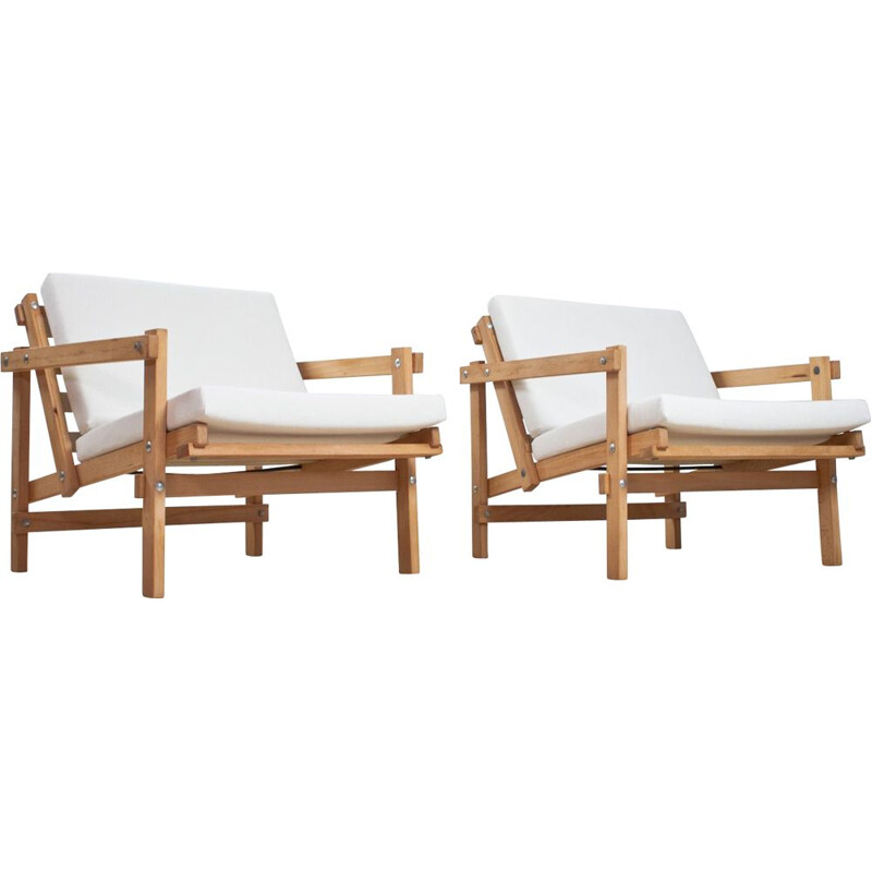 Pair of vintage Martin Visser lounge chairs in beech and white fabric 1970s