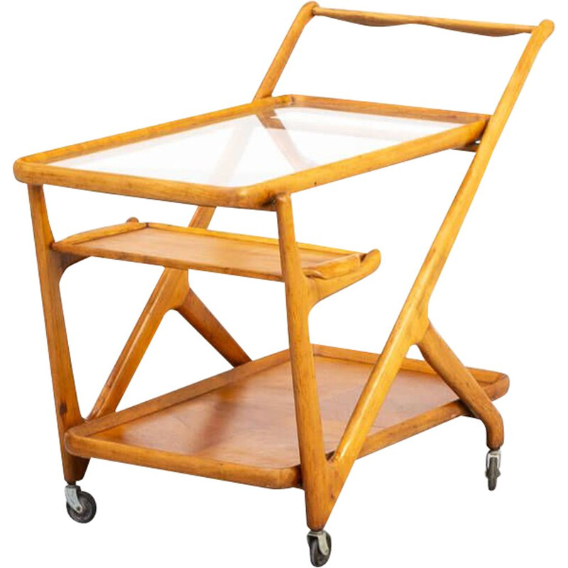 Vintage wood thee trolley  Cesare Lacca ceder for Cassina 1950s