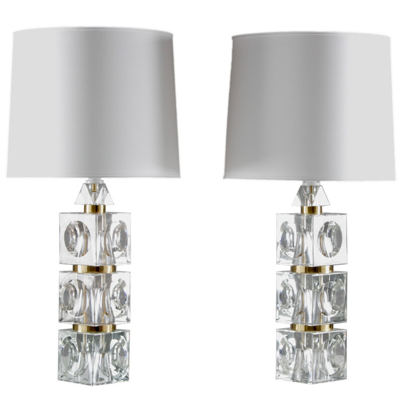 Pair of Scandinavian Orrefors table lamps in glass and brass, Carl FAGERLUND - 1960s