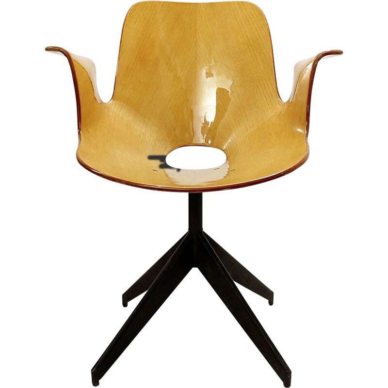 Vintage Medea office chair with swivel base by Vittorio Nobili for Fratelli Tagliabue, 1950