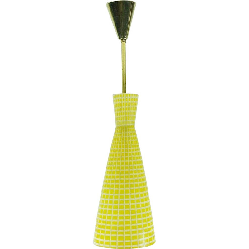 Vintage pendant lamp yellow and white glass by peill & putzler to Aloys Ferdinand Gangkofner 1950