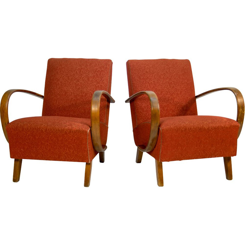 Pair of vintage Armchairs by Jindrich Halabala 1950s