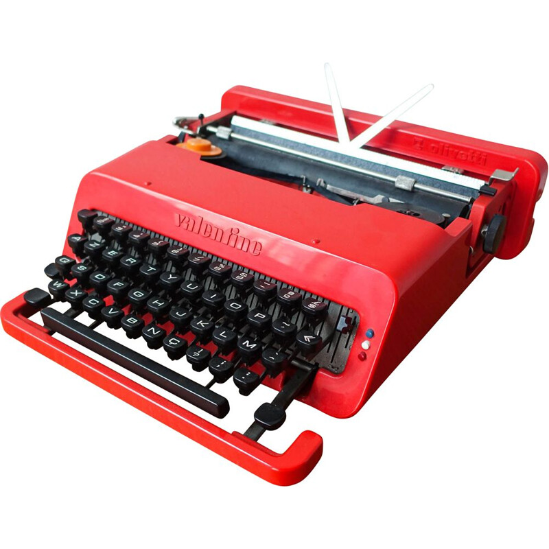 Vintage Red Valentine Typewriter by Ettore Sottsass & Perry King for Olivetti Synthesis 1970s
