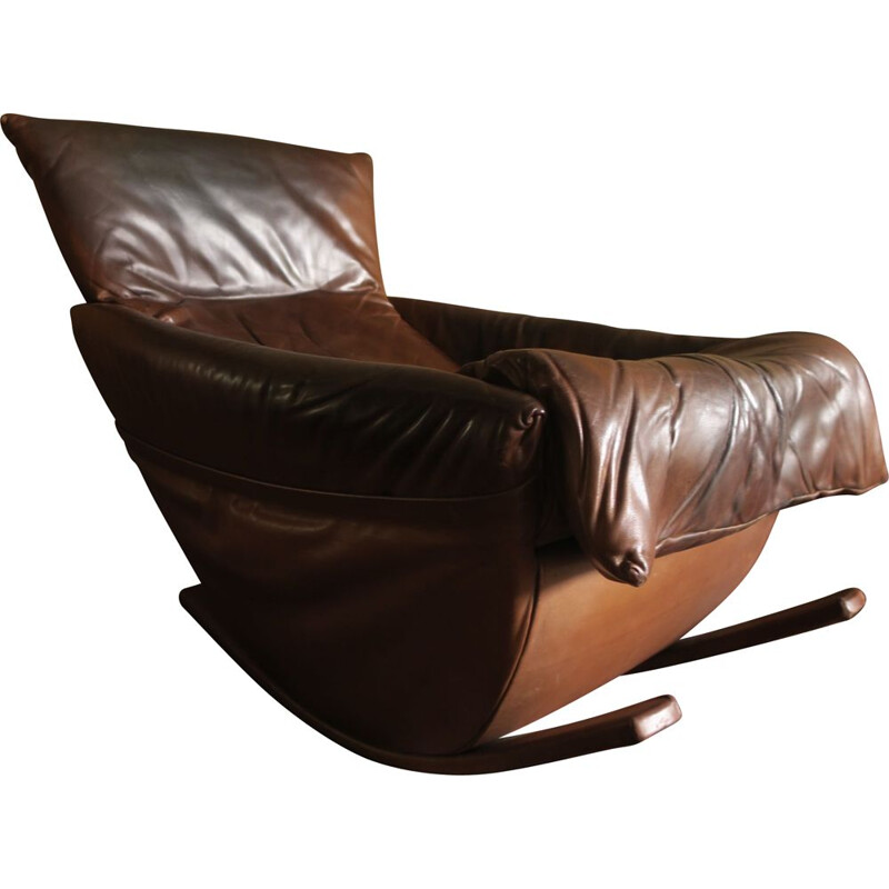 Rocking chair in patina leather De Sede, Switzerland 1970
