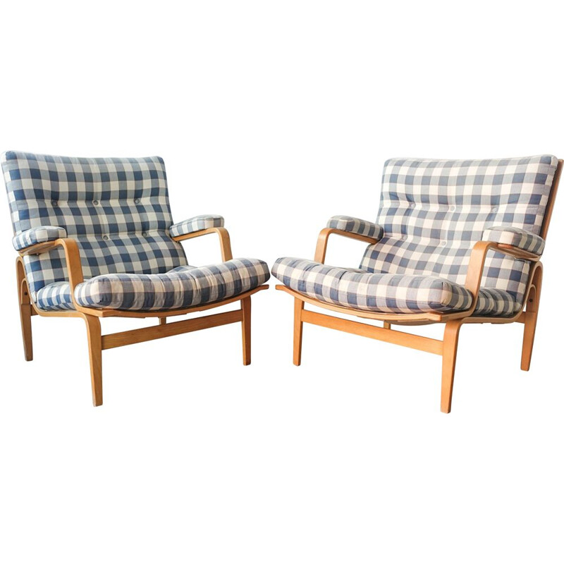 Pair of vintage Ingrid armchairs by Bruno Mathsson for Dux, Sweden 1960