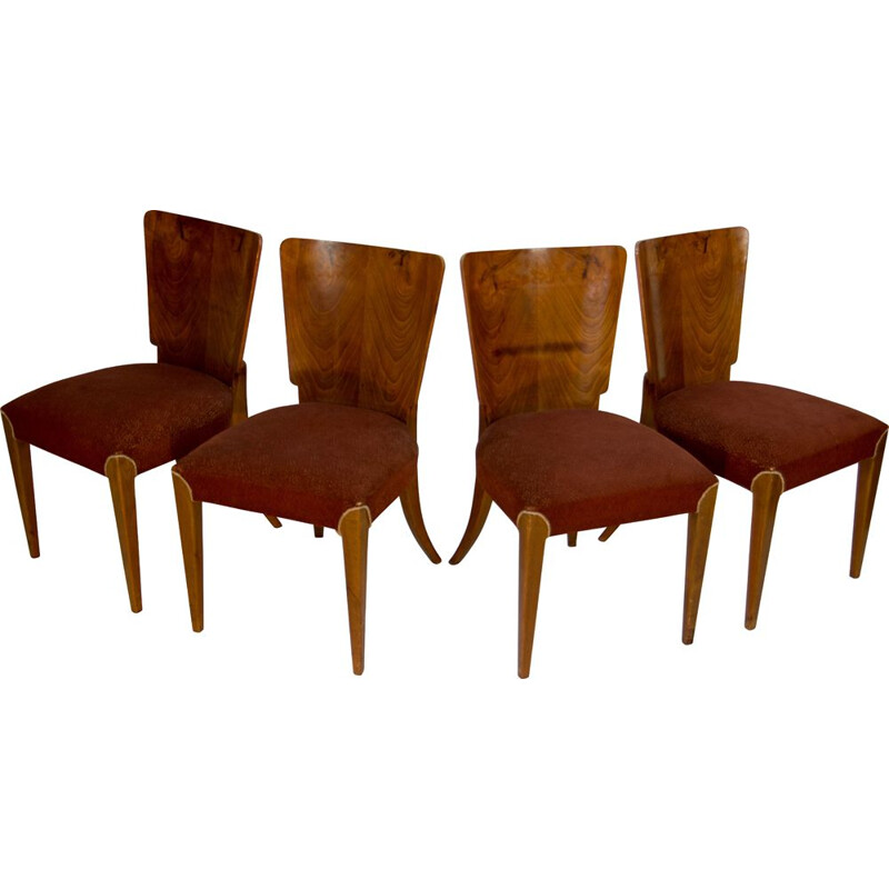 Set of 4 vintage Art Deco chairs by Jindrich Halabala for UP Závody 1930