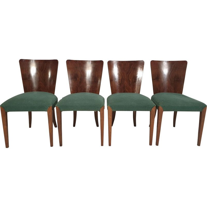 Set of 4 vintage Art Deco Dining Chairs by Jindřich Halabala 1940s