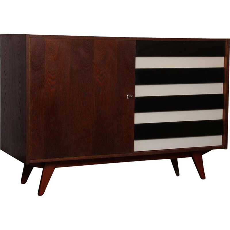 Vintage dark oak chest of drawers by Jiri Jiroutek 1960s