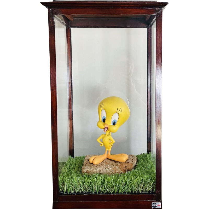 """Vintage """"Tweety in Glass"""" Late display case in blown glass and walnut wood 1970s"""