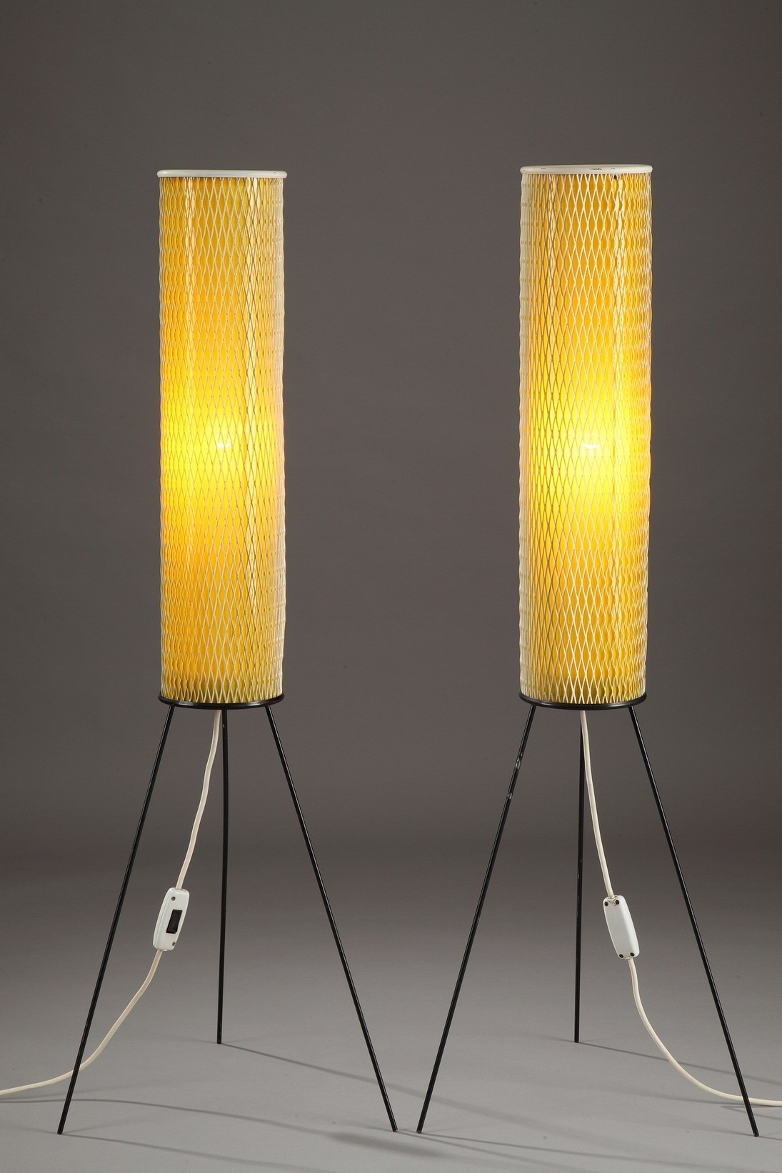 Yellow Tripod Floor Lamp In Metal And Plastic 1950s
