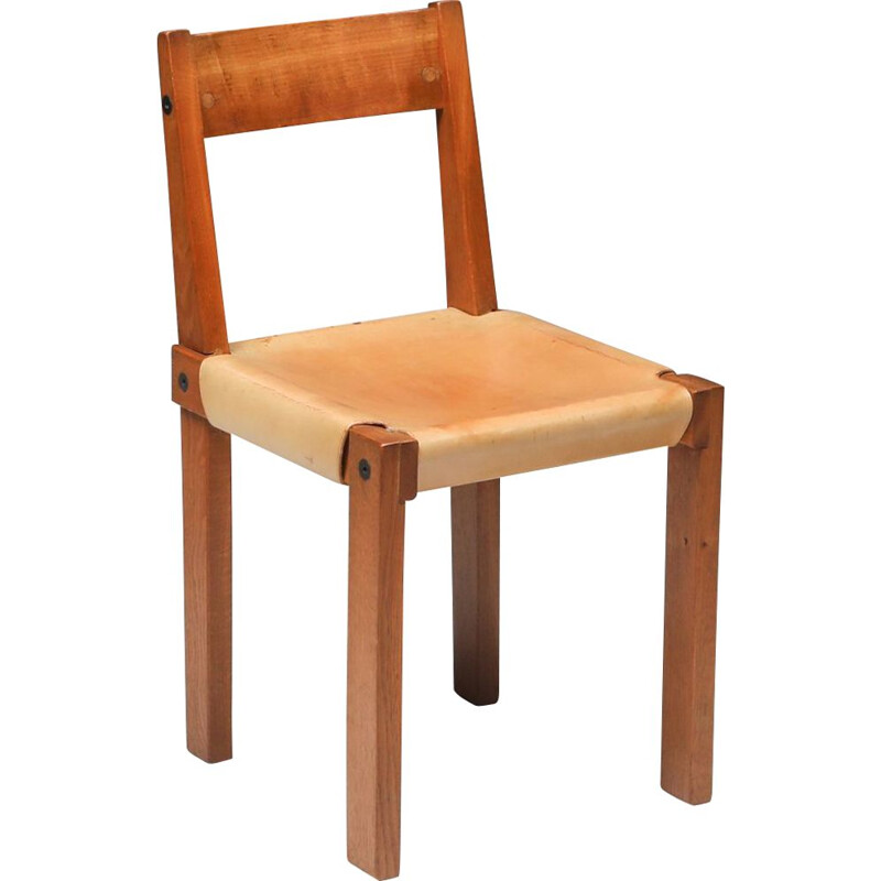 Vintage chair S24 in solid elm and natural leather by Pierre Chapo, France 1966