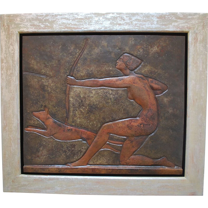 Vintage copper wall decoration of Diane Huntress by Claudius Linossier, Art Deco, France 1920